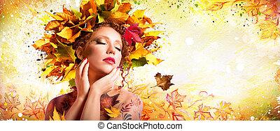 mód, művészet, alatt, ősz, -, művészi