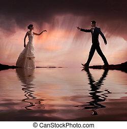 mód, művészet, esküvő, bírság, fénykép