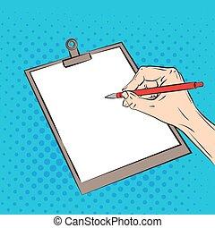 mód, művészet, váratlanul, kéz, vektor, ábra, pen., komikus, piros