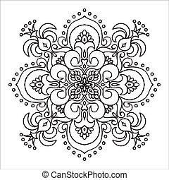 mód, majolica, kéz, zentangle, mandala, rajz, element., olasz
