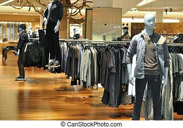 mód, mannequins, áruház