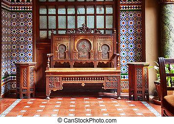 mód, marrakesh, kis zárt belső udvar