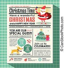 mód, meghív, poszter, háttér, újság, fél, karácsony