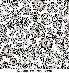 mód, motívum, fém, seamless, fogaskerék-áttétel, steampunk, szórakozottan firkálgat