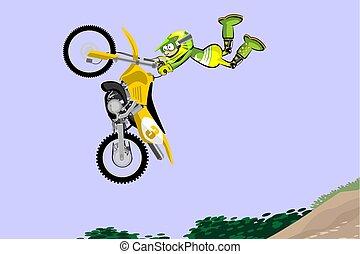 mód, motokrossz, előadó, lovas, magas, jump., karikatúra