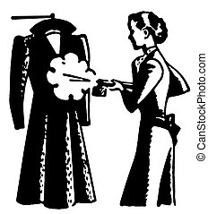 mód, nő, gőzölgés, szüret, kép, változat, fekete, fehér, öltözék