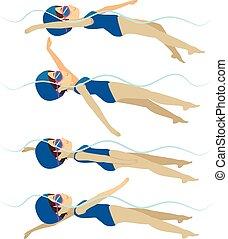 mód, nő, hátúszás, úszás