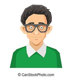 mód, nerd, pullover., vektor, zöld, portré, karikatúra, ...