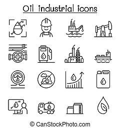 mód, olaj, állhatatos, sovány megtölt, ikon