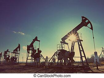 mód, olaj, árnykép, dolgozó, szüret, -, körömcipő, retro