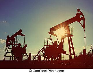 mód, olaj, dolgozó, szüret, -, két, körömcipő, retro