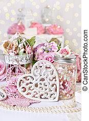 mód, romantikus, szüret, valentines, vagy, dekoráció, esküvő nap