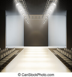 mód, runway., üres