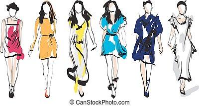 mód, sketch., models.