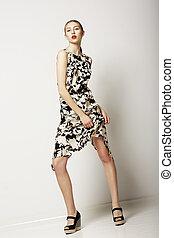 mód, style., városi, collections., woman van, alatt, fény, modern, ruha