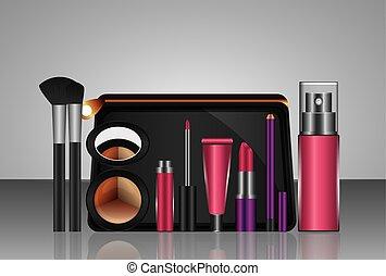 mód, szépség, alkat, kozmetikai, állhatatos, termékek