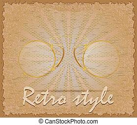 mód, szemüveg, öreg, cvikker, poszter, ábra, retro