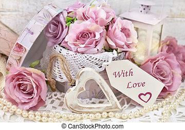 mód, szeret, kopott, szöveg, valentines, címke, dekoráció, dolgozat, esküvő, sikk, vagy, romantikus
