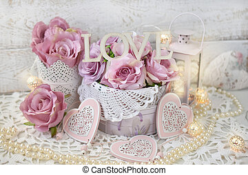 mód, szeret, kopott, valentines, dekoráció, esküvő, sikk, vagy, romantikus