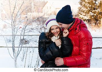 mód, szeret, tél, párosít, fiatal, külső, érzéki, csókol, portré, hideg, wather.