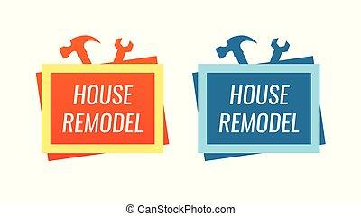 mód, szolgáltatás, épület, átalakít, jel, saját renovation