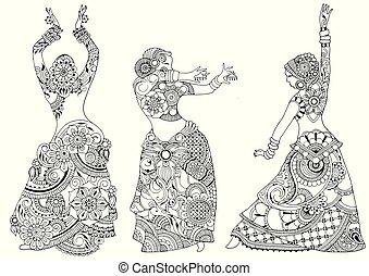 mód, táncosok, indiai, mehndi