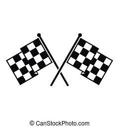 mód, tarka, egyszerű, zászlók, ikon, versenyzés