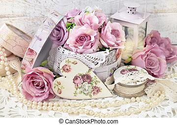 mód, vagy, szeret, dekoráció, esküvő, kopott, romantikus, sikk, valentines