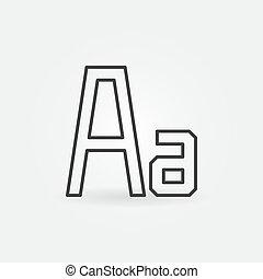 mód, vektor, sovány megtölt, betűtípus, minimális, ikon