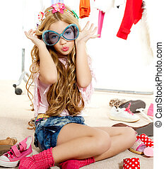móda, šatník, zákulisí, oběť, špinavý, děvče, kůzle