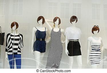 móda, dále, okno, vzor
