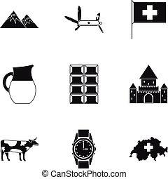 móda, Ikona, dát, Země, jednoduchý, Švýcarsko