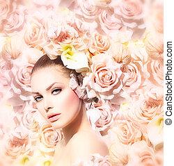 móda, kráska, nevěsta, hair., vzor, květiny, děvče