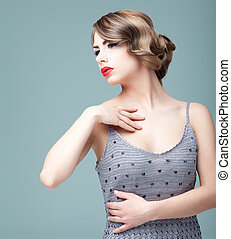móda, kráska, portrét, o, jeden, blondýnka, young eny, klást, do, neurč. člen, e