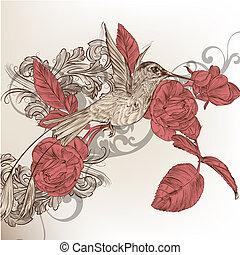móda, květinový, grafické pozadí, s, smrad, ptáček, a, růže