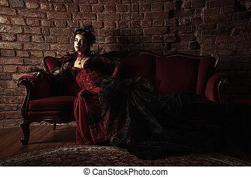 móda, móda, gotický, portrét, vzor, děvče