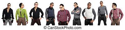 móda, muži, kalhoty, jeden, košile