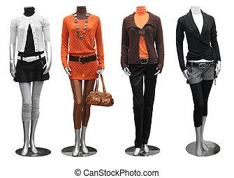 móda, obléci, dále, manekýnka