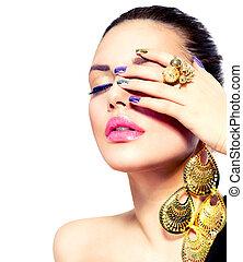 móda, umění, manikúra, beauty., přibít, make-up.