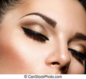 móda, uspořádání, makeup., dírka, za, oko, překrásný
