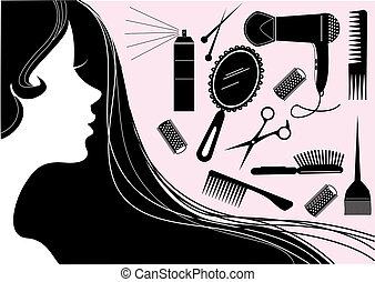 móda, vlas, beauty salon, vektor, element.