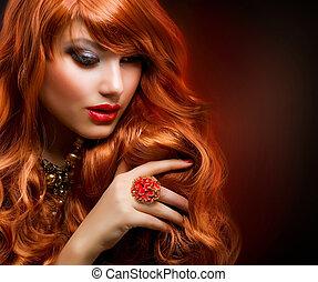 móda, zvlněný, hair., portrét, děvče, červeň