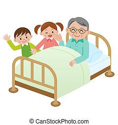 mój, came, wizyta, na, wnuk