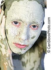 mój, glina, zielona twarz
