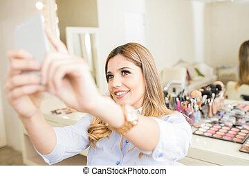 mój, wpływy, makijaż, zrobiony, selfie