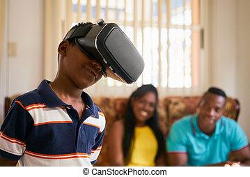 móka, helyett, vidám család, játék, lényegbeni realitás, védőszemüveg, orrfutó emelési sebesség, szemüveg
