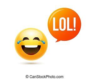 móka, ikon, mosoly, ábra, lol, emoticon, face., karikatúra,...