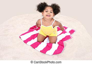 móka, leány, homok, gyermek