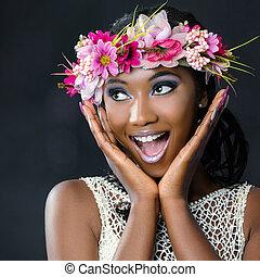móka, portré, közül, bájos, afrikai, menyasszony, noha, virág, garland.