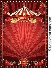 móka, poszter, cirkusz, piros